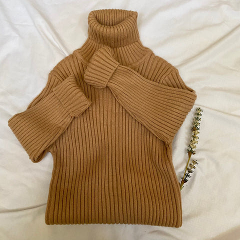 Ribbed Turtleneck - Camel