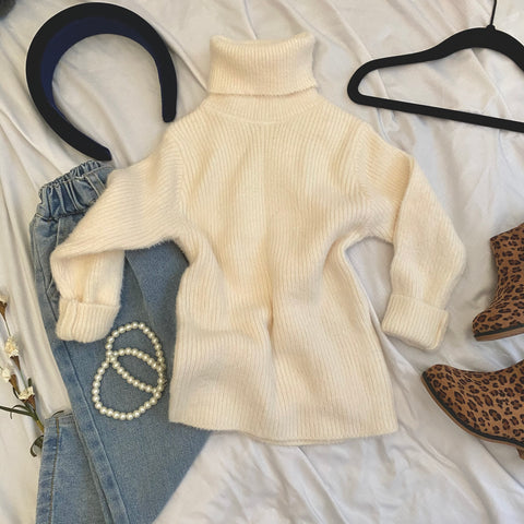 Fluffy Creme Knit Sweater