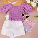 Mila Puff Sleeve Blouse - Purple
