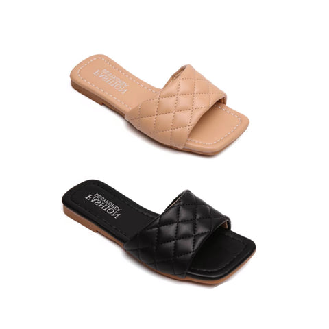 Stassi Quilted Square Toe Sandals