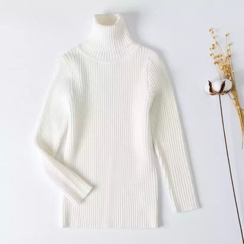 White Ribbed Turtleneck