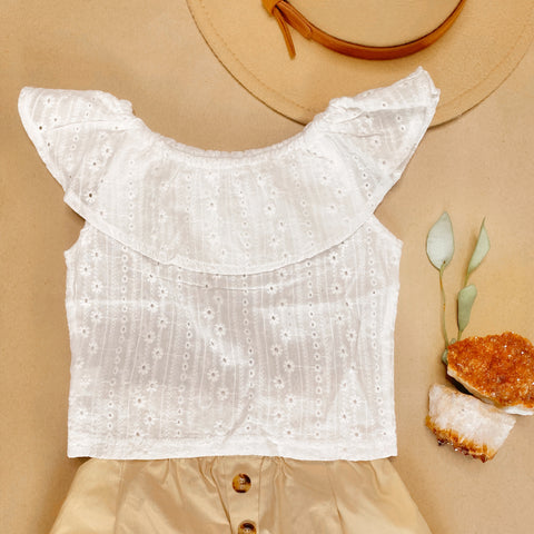 White Flutter blouse