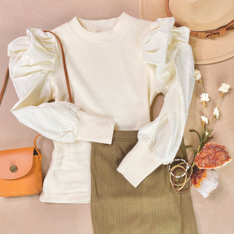 Betzy ribbed puff sleeve top