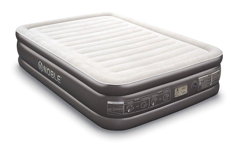 Noble QUEEN SIZE Comfort DOUBLE HIGH Raised Air Mattress - Top Inflatable Airbed with Built-in Pump - Elevated Raised Air Mattress Quilt Top