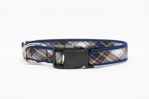 Green and Navy Plaid Standard Collar