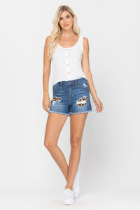 Claire Leopard Patch Judy Blue Shorts