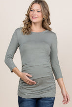 Load image into Gallery viewer, Stunning in Stripes- Maternity Top (Olive)