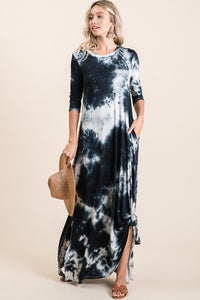 Night on the Town Tie-Dye Maxi Pocket Dress