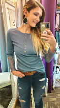 Load image into Gallery viewer, Joanna Lace Sleeve Henley Top