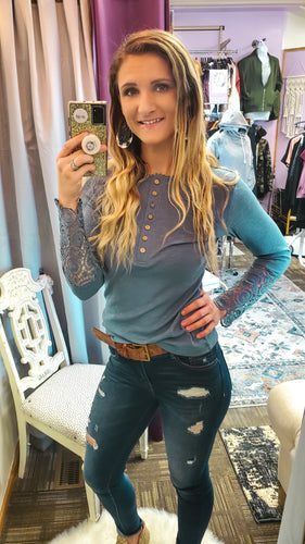 Joanna Lace Sleeve Henley Top