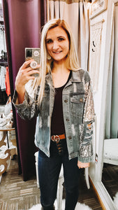 Showstopper Sequin Denim Jacket