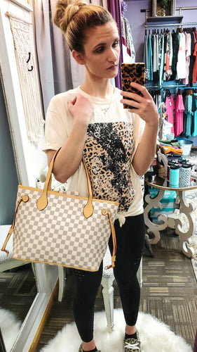 Selena Checkerboard Tote with Wristlet