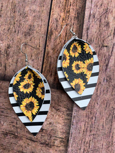 Sunflower and Stripe Leather Earrings