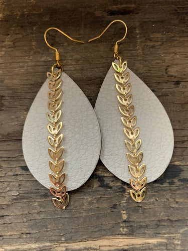 Cream Chain Leather Earrings