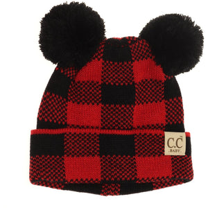 BABY C.C Buffalo Plaid Pom Beanie- Multiple Colors