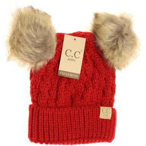 KIDS C.C Double Fur Pom Beanie- Multiple Colors
