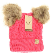 Load image into Gallery viewer, KIDS C.C Double Fur Pom Beanie- Multiple Colors