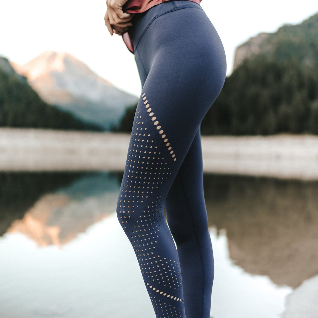 Alpine Laser Cut Leggings- Steel Blue