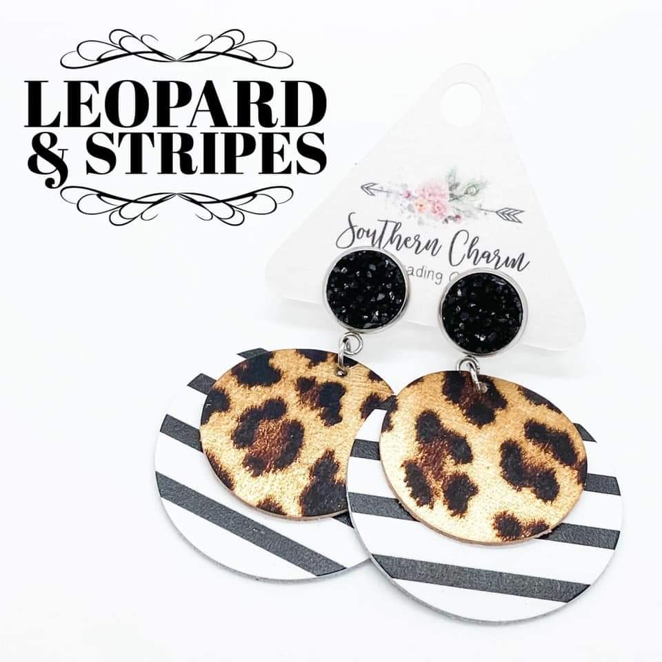 Leopard Stripe Double Petal Earrings