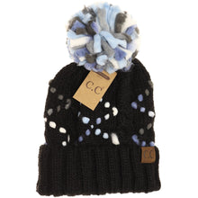 Load image into Gallery viewer, C.C Chunky Diamond Accent Pom Beanie