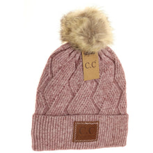 Load image into Gallery viewer, C.C Geometric Knit Pom Beanie