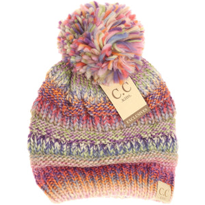KIDS C.C Multi-Color Pom Beanie- 3 Colors