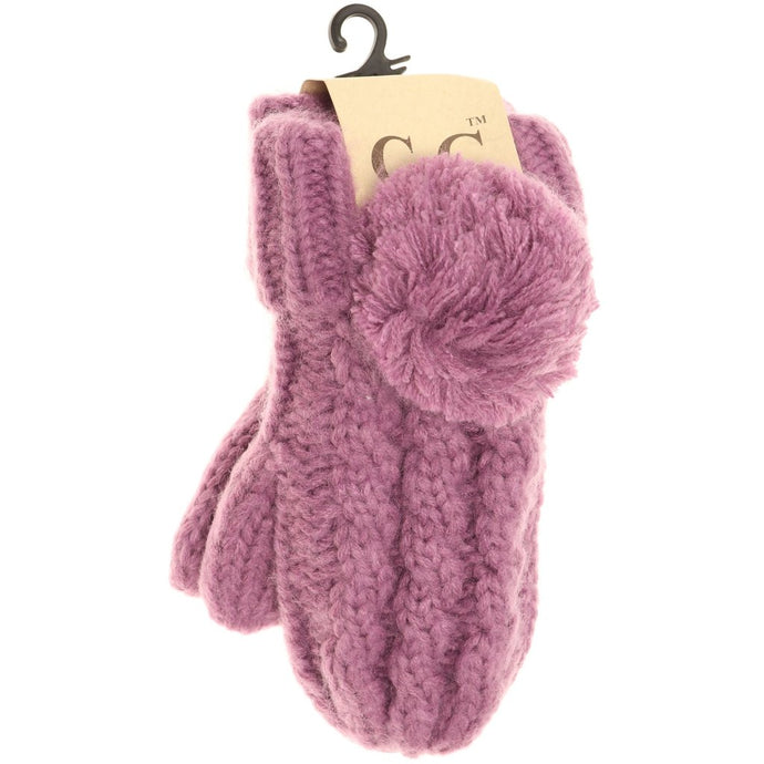KIDS C.C Cable Knit Pom Mittens