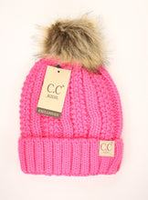 Load image into Gallery viewer, KIDS C.C Fuzzy Lined Pom Beanie- Multiple Colors