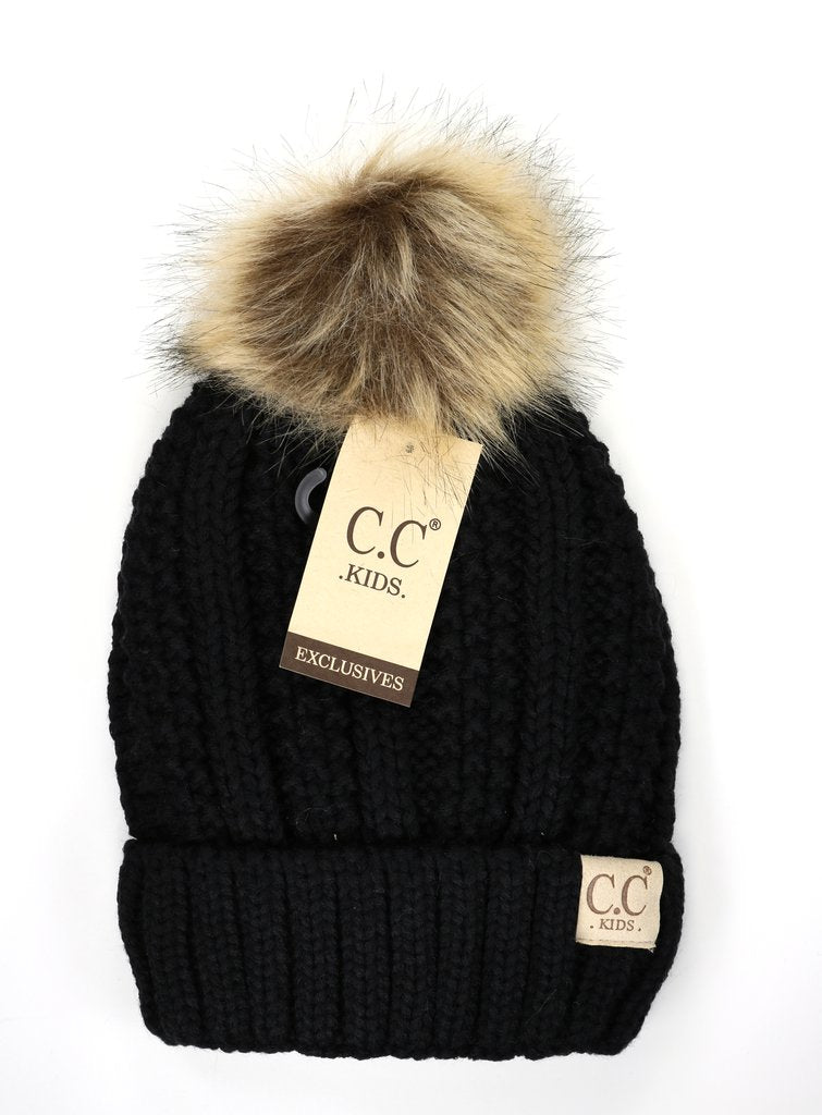 KIDS C.C Fuzzy Lined Pom Beanie- Multiple Colors