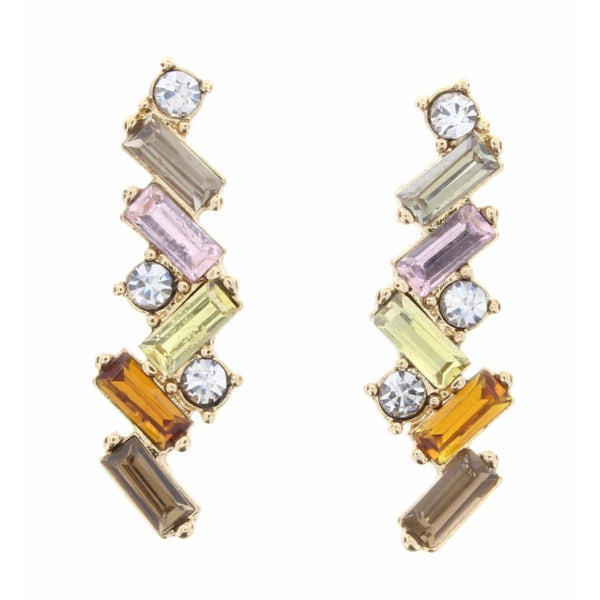 Angled Champagne and Topaz Czech Stone Bar Earrings