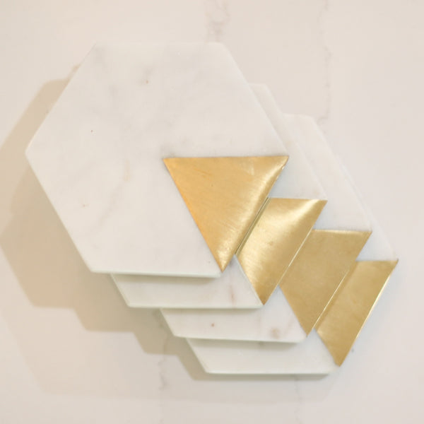 Hexagon Marble and Gold Coasters