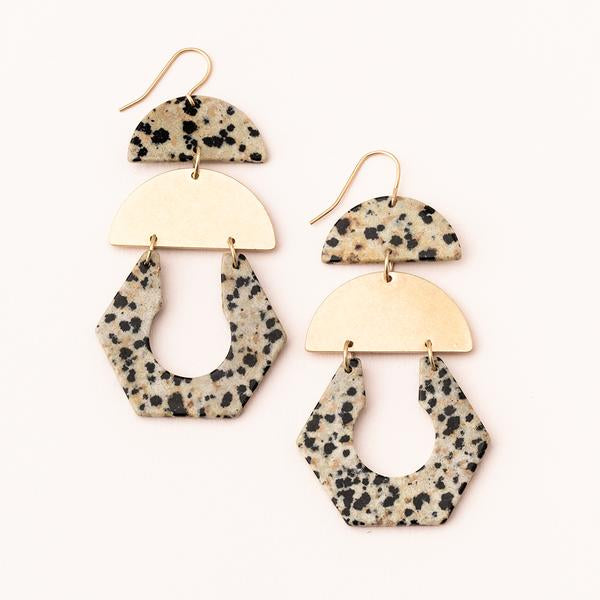 Stone Cutout Earrings- Dalmatian Jasper