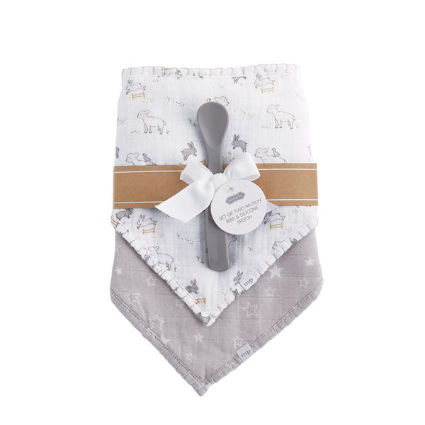Lamb Muslin Bibs and Spoon Set
