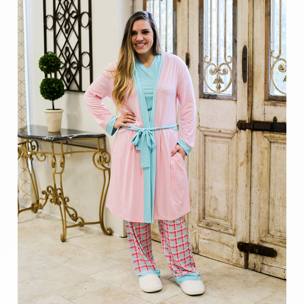Classic Robe in Light Pink/Aruba Blue