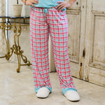 Tropical Punch Plaid Sleep Pants in Aruba Blue/Pink