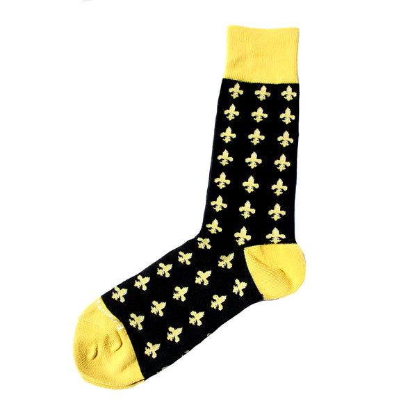 Men's Black and Gold Fleur de Lis Socks