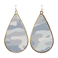 Miami Earrings Printed Leather (Gray Camo)