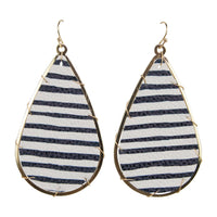 Miami Earrings Printed Leather (Navy Stripe)