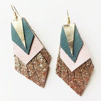 Feather Leather Pink Edges Earrings