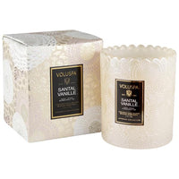 Santal Vanille, Boxed Scalloped Candle