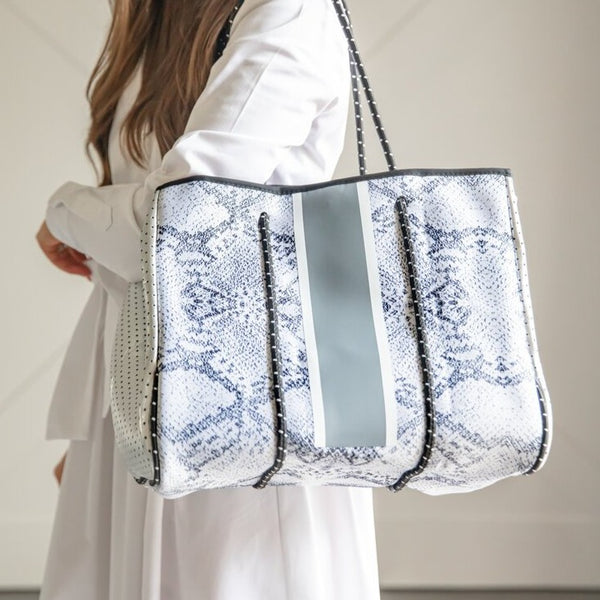 Silver Python and Grey Stripe Tote
