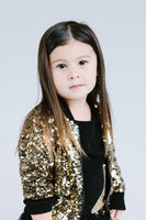 Kids Gold Sequin Bomber Jacket