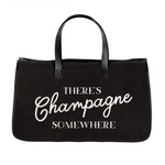 """There's Champagne Somewhere"" Canvas Tote"