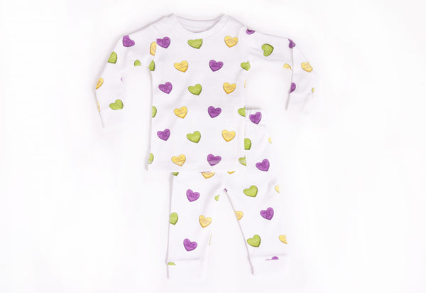 Mardi Gras Sweet Hearts Organic Cotton Pajama Set