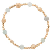 Gold Bead Bracelet, Honesty Sincerity Pattern 6mm Aquamarine