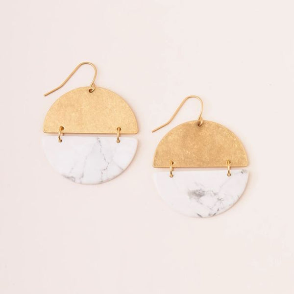 Full Moon Earring in Howlite