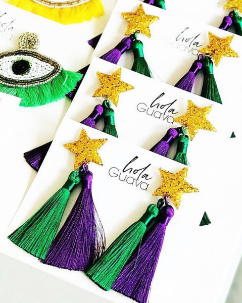 Mardi Gras Star Double Tassel Earring