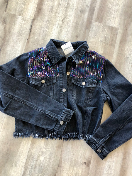 Black Denim Jacket with Sequins