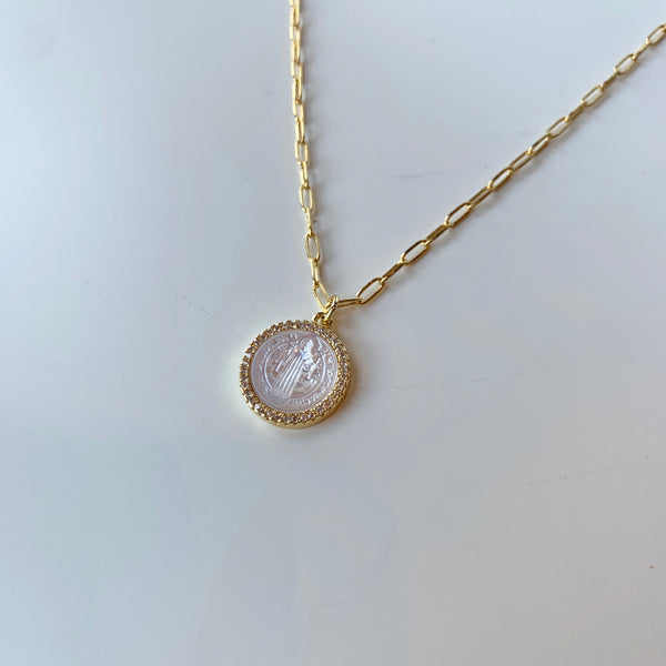 Mother of Pearl Saint Benedict Necklace
