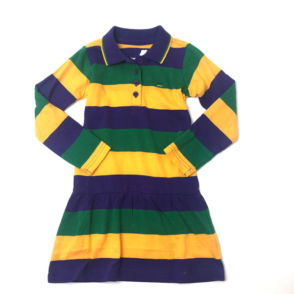 Mardi Gras Stripe Kids Dress